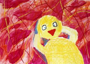 """Etta i åldersklassen 11-15 år: Isak Strand, 12 år, Dvärsätt.         JURYNS MOTIVERING: """"Juryn föll direkt för Isaks tillbakalutade och avslappnade kyckling. Vi imponerades av skuggningen som gav bilden en extra dimension. Charmig!"""""""