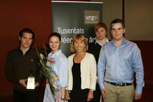 Pristagarna från vänster Mathias Bohlin, Josefin Andersson Senko, Barbro Holmgren, Jonatan Lysell och Robert Holmström.
