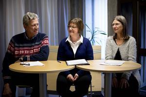 Landstingets ledning Lars-Gunnar Hultin (V), Elisabet Strömqvist (S), Eva Andersson (MP)