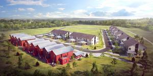 Så kommer det nya området att se ut när de första husen byggts. Totalt planeras 55 bostäder.