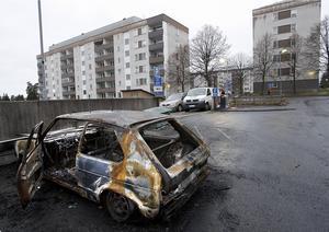 En utbränd bil i Fornhöjden.