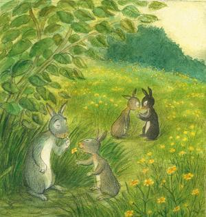 Farfar kanin lär barnen vilka växter som är ätliga och vilka som är giftiga. Och så lär han dem att leka gulnos med smörblommor.