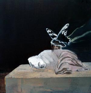 I Per Sångbergs målningar återkommer ständigt vargen, och känslan av att vara jagad.