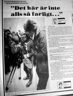 Meeri Bodelid var första dam i mål 1981, första året då damer var välkomna att åka Vasaloppet.                  (Ur Falu-Kuriren mars 1981)