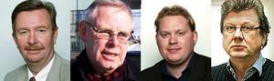 Från vänster: Kent Ryberg, S, Bengt-Åke Nilsson, FP, Andreas Porswald, MP, Mats Eriksson, V.