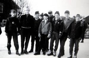 Här är de startande juniorerna vid tävlingarna 1957. Bertil Carlsson står längst till vänster. I mitten är hans bror Gunnar Carlsson.