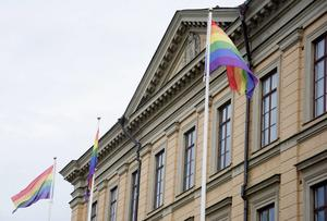 Regnbågsflaggor i Gävle under Gävle Pride 2016.