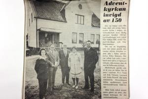 Tidningsartikel från invigningen av Adventkyrkan, den 2 oktober 1976.