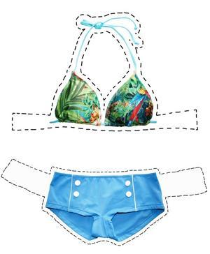 Bikiniöverdel med palmer, 98 kr från H&M, och 50-tals-retro underdel med knappar i seglarstil, 99 kr från Cubus.