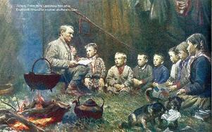 Undervisning i skolkåtan i Glen, 1892. En målning av Johan Tirén.