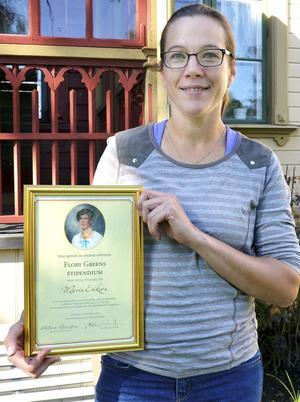 Maria Eriksson fick årets Flory Green-stipendium för sitt arbete med Göthlinska trädgården.