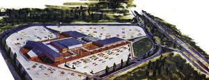 Motell och restauranger, kongresshall och supermarket fanns i planen för den framtida staden.