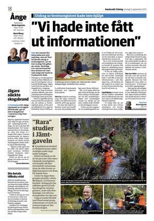 Sundsvalls Tidning 12 september 2013.
