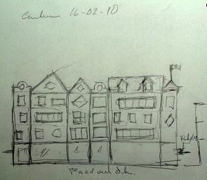 Skiss av Lasse Öhman över hur husfasaderna kan se ut.