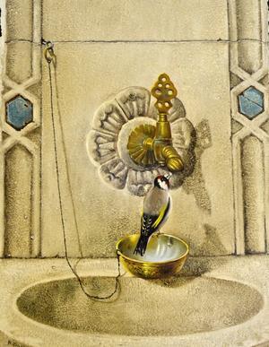 Källan till liv. Fågeln dricker en droppe vatten i en gammaldags springbrunn. Naser Dashti har målat.