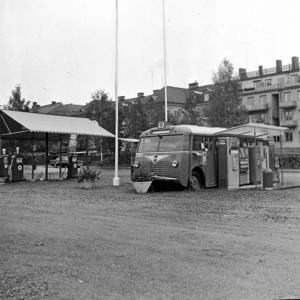 Ett foto från GDG busstation i Ludvika. Fotot är taget 1959.