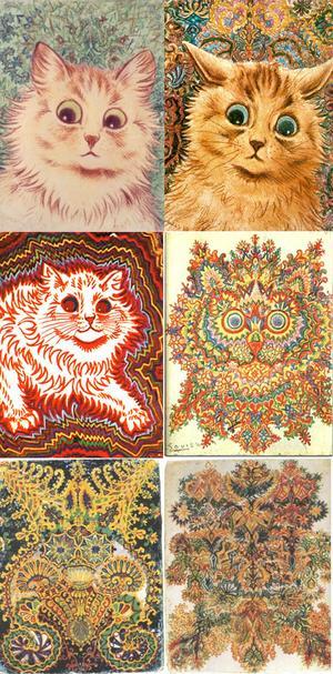 Under sin tid som sjuk fram till sin död fick Louis Wains katter allt mer abstrakta drag till det föreställande helt upphör.