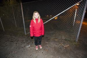 Här vid staketet kom Moa Dandanelle cyklande när hon fick se släpet komma störtande emot henne i hög fart. Staketet förstördes totalt, men har nu reparerats.
