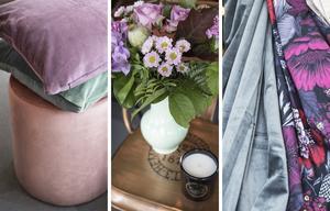 En sittpuff i sammet, lyxiga snittblommor, doftljus, sammetsgardiner och stormönstrade textiler är hett i höst.