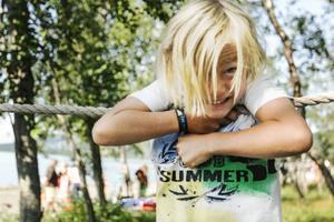 Linus Käll, 6 år, från Åre tycket det bästa var att han fick prova på att stapla drickabackar och att klättra.
