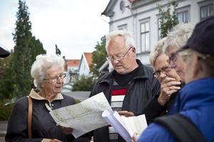 Via den gamla kartan kunde deltagarna orientera sig och hitta platserna för 1800-talets bebyggelse i Ljusdal.