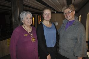 Ung ledare. Barbara K Hallström, president i Kolbäck Rotary, stipendiaten Karolin Ström och Kerstin Persson, Kolbäck Rotary. Foto: Annemo Friberg