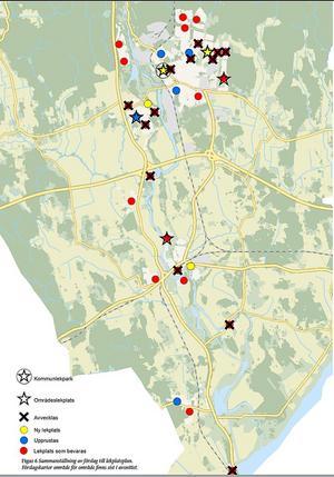 Här är lekplatserna som försvinner, rustas och byggs. Söder om E18 förvinner fyra lekplatser och en ny byggs. I tätorten tas nio bort och tre nya tillkommer. Kartan är tagen från beslutsunderlaget Kommunala lekplatser - plan och utredning.
