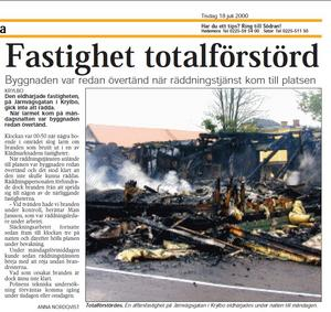 Faksimil från Södra Dalarnes Tidning den 18 juli 2000, efter en brand på klädaffären Franzéns i Krylbo.