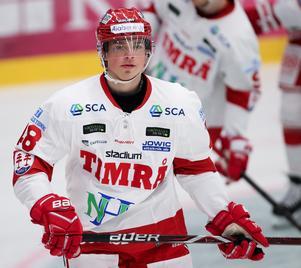 Hudikfostrade Gustav Nielsen är den enda hälsingespelare i Hockeyallsvenskan nästa säsong. Foto: Claus Meyer/TT.