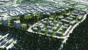 Idéskiss över det nya bostadsområdet Jakobsdalen med de två planerade punkthusen längst till vänster. Husen med platta tak är inte byggda än. Skiss: Tunabyggen