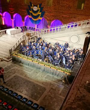 I Blå Hallen spelade Stockholms polismusikkår för de som fick mästarbrev och gesällbrev. Foto: Privat.