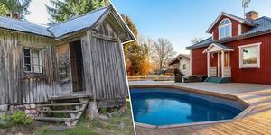 En fäbodstuga i Näsberg och en villa med pool i Åselby är några av objekten på Klicktoppen. Bilden är ett montage. Foto: Länsförsäkringar Fastighetsförmedling Mora/Patrik Persson