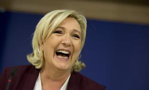Marine Le Pen blev den stora vinnaren när fransmännen röstade i EU-parlamentsvalet. Foto: Virginia Mayo/AP
