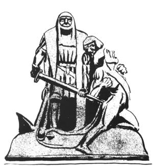 August Berglunds karikatyr av Engelbrektsmonumentet.