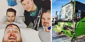 """Dates medlemmar Peter Hecktor, Simon Andersson, Niklas Fjärve och Jan Lindberg återhämtar sig på sjukhus i Västerås. """"Vi har haft änglavakt"""" skriver bandet på sin Facebooksida."""
