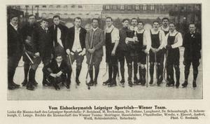 En bild från 1913, och en tidig bandymatch mellan Leipziger Sportclub, till vänster i bild i lite småsnobbiga matchkläder, mot Wiener Team, i folkliga lederhosen.