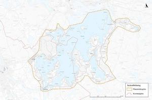 Den kommande översiktsplanen över Runn gäller detta område. Gula streck är planområdesgräns, röda streck är kommungräns mellan Borlänge och Falun. Planskiss från Falu kommuns hemsida.