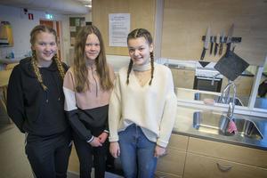 Alva Persson, Stina Sandberg och Nathalie Hasselskog på Treälvsskolan i Lit.