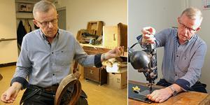 Sven Englund började jobba som sadelmakare när han var 18 år. Som pensionär har återgått till yrket efter att jobbar på Ambulansproduktion i Sandviken, som golvläggare och som underhållstekniker.