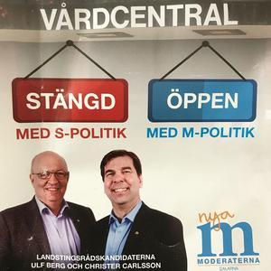 Så här kampanjade M med direktreklam i bland annat Falun kort innan valet.