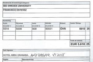 En av fakturorna när avdelning för psykologi på MIttuniversitetet höll sina avdelningsdagar i Granada i södra Spanien förra året. Fakturan är på 57 763 kronor (5 610 euro). Den andra fakturan från samma resa låg på 104 099 kronor.