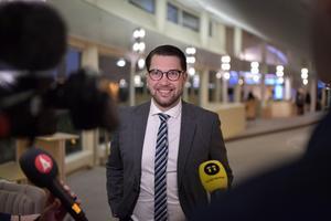 Sverigedemokraternas partiledare Jimmie Åkesson (SD) såg nöjd ut när han kommenterade arbetsmötet han har haft med moderatledaren Ulf Kristersson. Foto: Anders Wiklund / TT