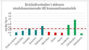 De blå staplarna visar läget i nedre Ångermanälven, de röda i Sundsvall och de gröna  ger exempel från andra håll i landet.  Den streckade linjen visar gränsen för tillåten försäljning  i EU. Diagram: IVL Svenska miljöinstitutet
