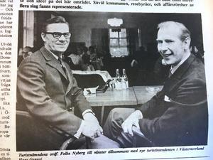 ÖA 23 maj 1969. Turistnämndens ordförande Folke Nyberg och nya turistintendenten i Västernorrland Hans Gennvi.