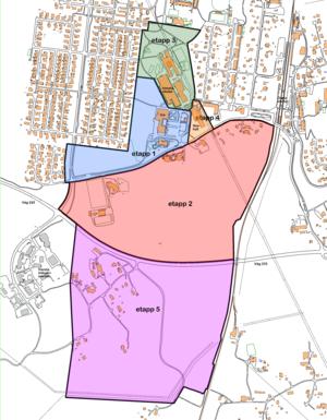 Alla fem etapperna: Byggstart för första etappen kan bli 2023, enligt Nynäshamns kommun. Hela projektet beräknas ta cirka tio år att få klart. Det vill säga fram till cirka 2030. Karta: Nynäshamns kommun