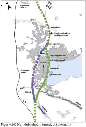 Det tredje och fjärde alternativet är att tågen går genom staden i tunnel.