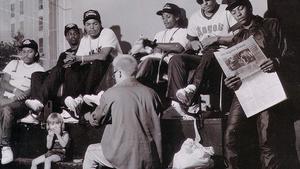 Det fullständiga  N.W.A utgjordes av  Arabian Prince, MC Ren, Ice Cube, Eazy-E, DJ Yella och Dr. Dre. Foto: Eric Poppleton