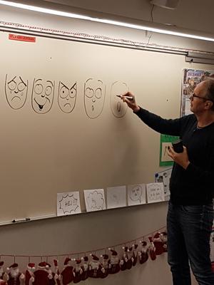 Per visar hur man enkelt kan få ett ansikte att visa olika känslor.