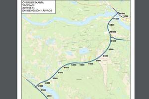Trafikverkets plan för den nya vägen från Rengsjön till Älvros.
