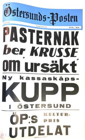 Östersunds-Postens löpsedel 6 november 1958.